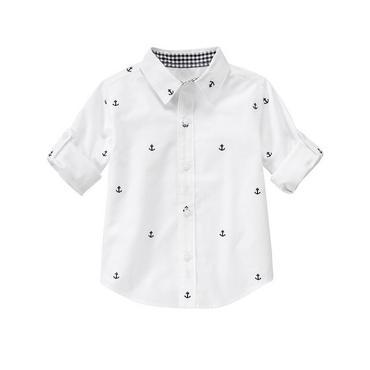Pure White Roll Cuff Anchor Shirt at JanieandJack