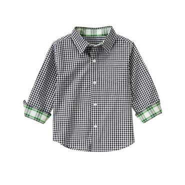 Classic Navy Check Gingham Roll Cuff Shirt at JanieandJack