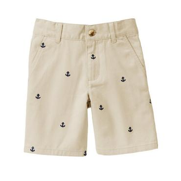 Boys Classic Khaki Embroidered Anchor Short at JanieandJack