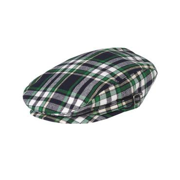 Boys Classic Navy Plaid Plaid Cap at JanieandJack