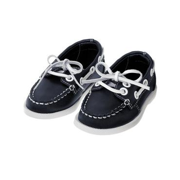 Classic Navy Leather Boat Shoe at JanieandJack