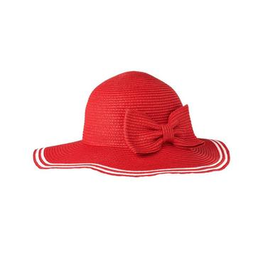 Riviera Red Bow Tipped Straw Sunhat at JanieandJack