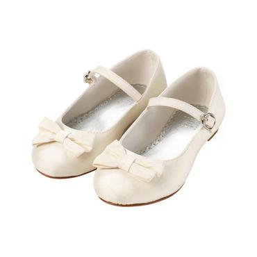 Jet Ivory Bow Silk Shoe at JanieandJack
