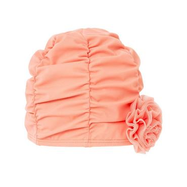 Coral Rosette Ruched Swim Cap at JanieandJack