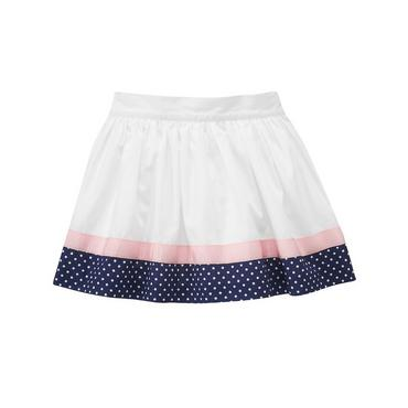 Pure White Ribbon Dot Trim Skirt at JanieandJack