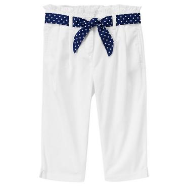 Pure White Dot Belted Crop Pant at JanieandJack