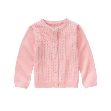 Shell Pink Cable Cardigan at JanieandJack