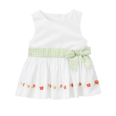 Pure White Poppy Embroidered Bow Top at JanieandJack