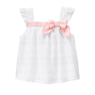 Pure White Bow Eyelet Top at JanieandJack
