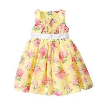 Yellow Rose Smocked Rose Floral Dress at JanieandJack