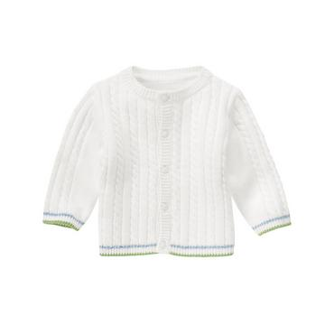 Pure White Tipped Cable Cardigan at JanieandJack