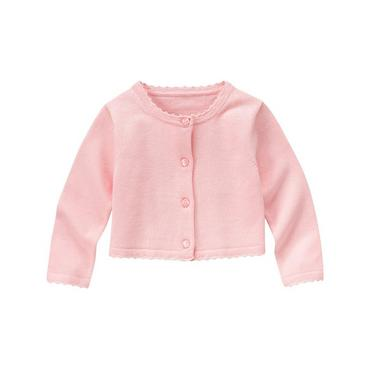 Blossom Pink Crochet Trim Crop Cardigan at JanieandJack