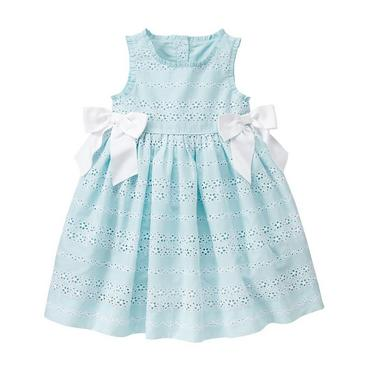 Robin's Egg Blue Bow Eyelet Dress at JanieandJack
