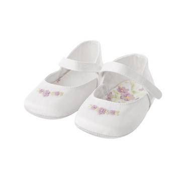 Pure White Hand-Embroidered Sateen Crib Shoe at JanieandJack