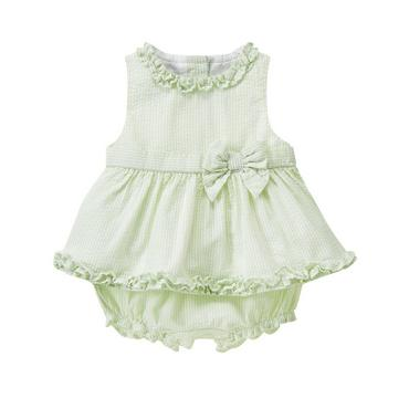 Pale Green Stripe Ruffle Stripe Seersucker Set at JanieandJack