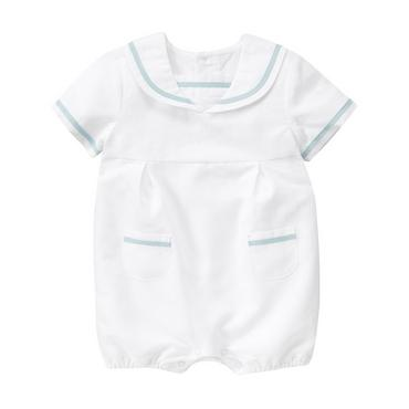 Pure White Sailor Linen Blend One-Piece at JanieandJack