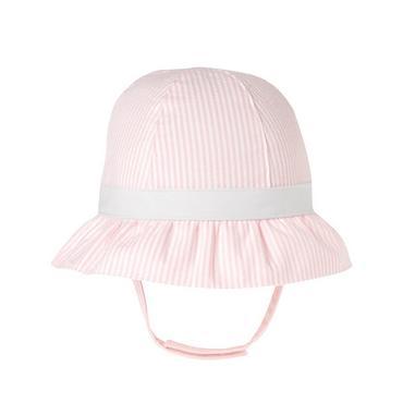 Marshmallow Pink Stripe Stripe Seersucker Sunhat at JanieandJack