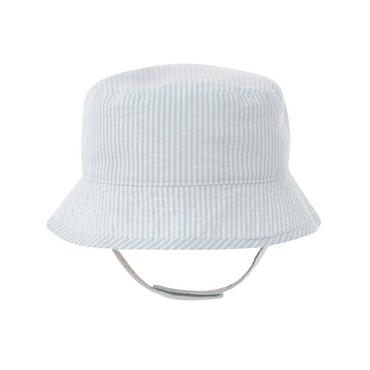 Signature Blue Stripe Stripe Seersucker Bucket Hat at JanieandJack