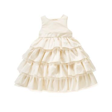 Jet Ivory Ruffle Tiered Silk Dress at JanieandJack