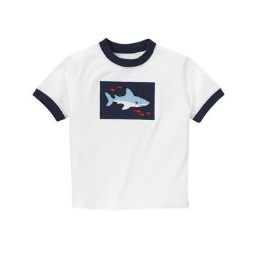Pure White Shark Ringer Tee at JanieandJack