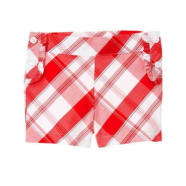 Scarlet Red Plaid Ruffle Plaid Short at JanieandJack