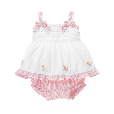 Petal Pink Stripe Embroidered Stripe Seersucker Ensemble at JanieandJack