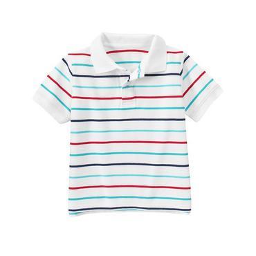 Lagoon Blue Stripe Stripe Polo Shirt at JanieandJack