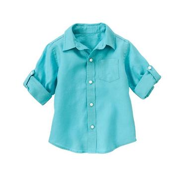 Lagoon Blue Linen Roll Cuff Shirt at JanieandJack