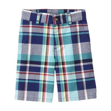 Boys Lagoon Blue Plaid Madras Plaid Short at JanieandJack