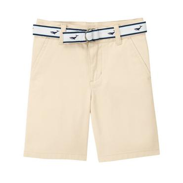 Boys Classic Khaki Whale Belted Twill Short at JanieandJack