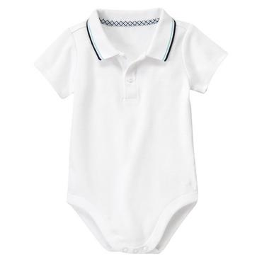 Pure White Tipped Polo Bodysuit at JanieandJack