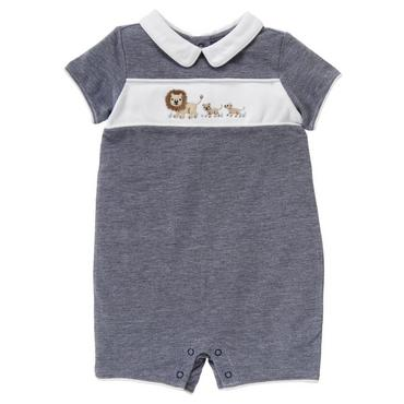 Summer Navy Lion Pique One-Piece at JanieandJack