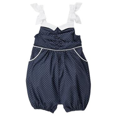 Classic Navy Dot Piped Pindot Bubble at JanieandJack