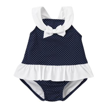 Classic Navy Dot Pindot Skirted Swimsuit at JanieandJack