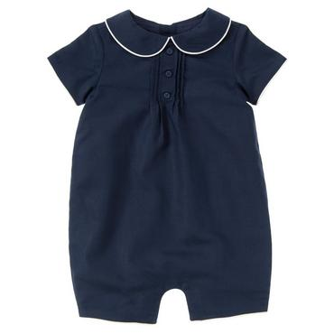 Classic Navy Piped Linen Blend One-Piece at JanieandJack