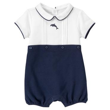 Classic Navy Dolphin Pique Bubble at JanieandJack