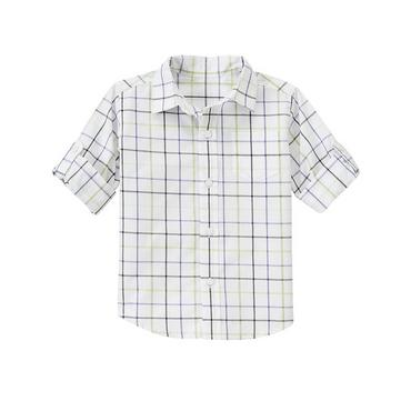 White Plaid Tattersall Roll Cuff Shirt at JanieandJack