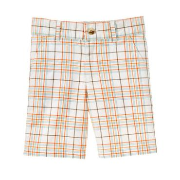 Boys Sunset Orange Plaid Plaid Short at JanieandJack