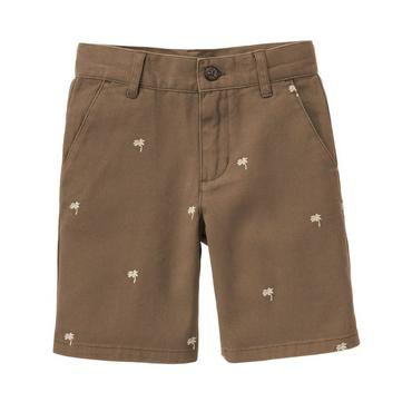 Boys Monkey Brown Embroidered Palm Short at JanieandJack