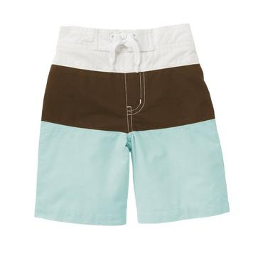 Colorblocked Island Blue Pieced Swim Trunk at JanieandJack