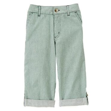 Boys Harbor Green Stripe Stripe Roll Cuff Pant at JanieandJack