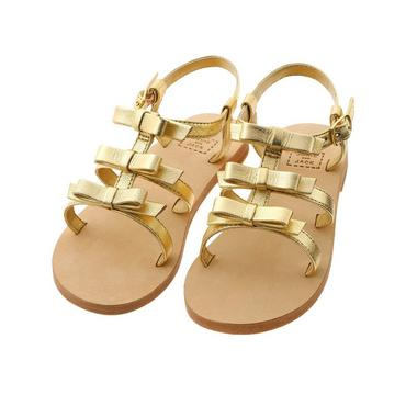 Metallic Gold Bow Metallic Leather Sandal at JanieandJack