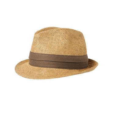 Boys Natural Banded Straw Fedora at JanieandJack