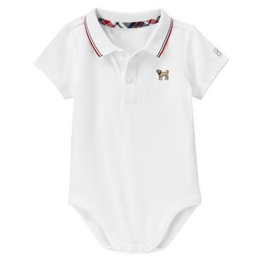 Baby Boy Pure White Puppy Polo Bodysuit at JanieandJack