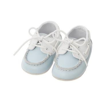 Sailboat Blue Leather Boat Crib Shoe at JanieandJack