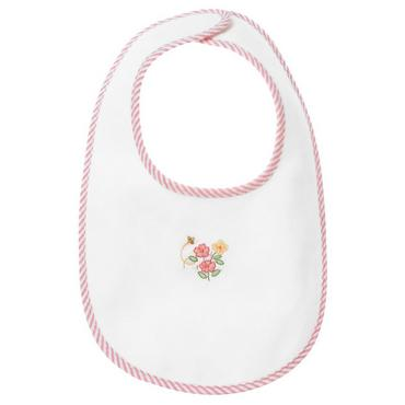 Layette Rosy Pink Floral Embroidered Flower Bib at JanieandJack