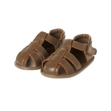 Brown Leather Fisherman Crib Sandal at JanieandJack