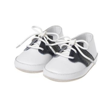 Pure White Leather Saddle Crib Shoe at JanieandJack