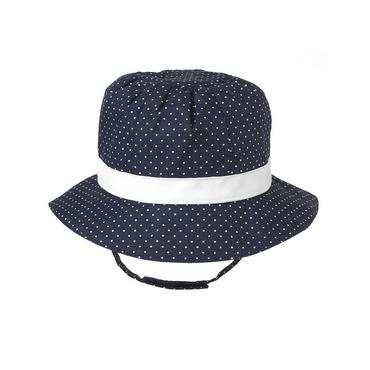 Classic Navy Dot Bow Pindot Sunhat at JanieandJack