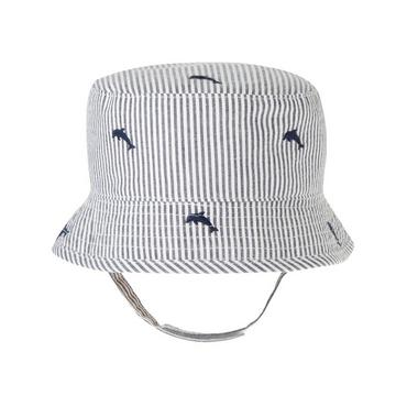 Chambray Stripe Dolphin Stripe Seersucker Hat at JanieandJack